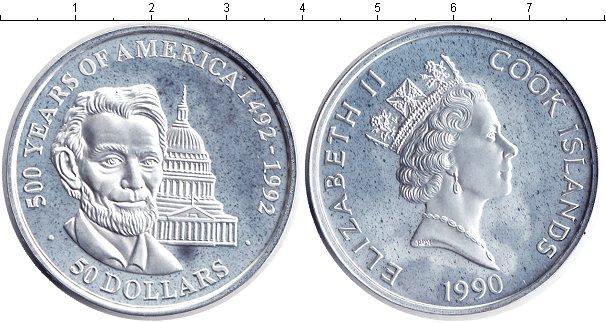 Картинка Монеты Острова Кука 50 долларов Серебро 1990
