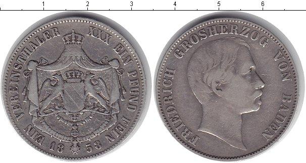 Картинка Монеты Баден 1 талер Серебро 1858