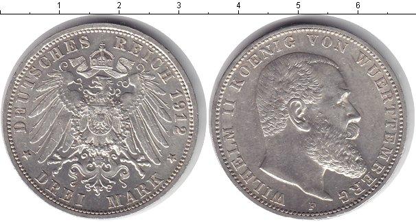 Картинка Монеты Вюртемберг 3 марки Серебро 1912
