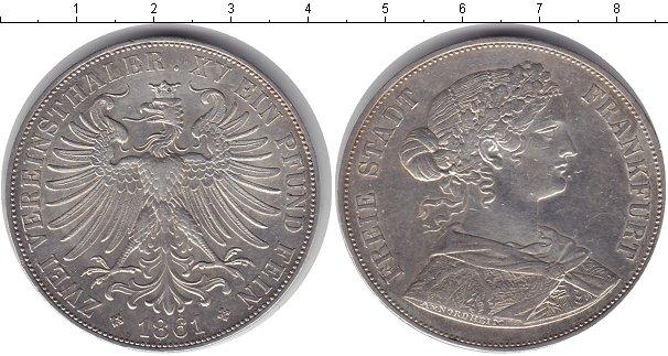 Картинка Монеты Франкфурт 2 талера Серебро 1861