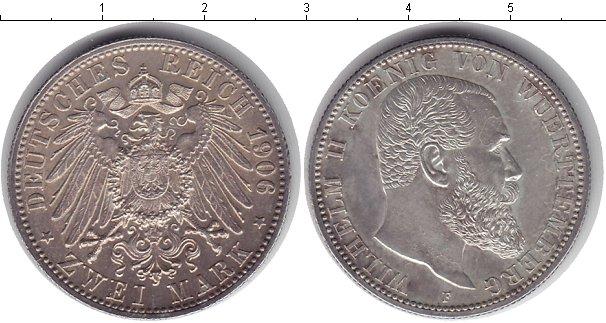 Картинка Монеты Вюртемберг 2 марки Серебро 1906