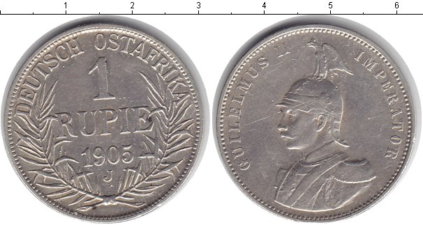 Картинка Монеты Немецкая Африка 1 рупия Серебро 1905
