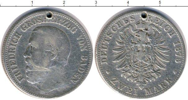 Картинка Монеты Баден 2 марки Серебро 1876