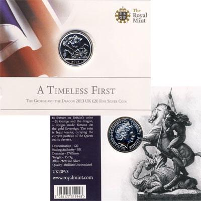 Изображение Подарочные монеты Великобритания Георгий Победоносец 2013 Серебро UNC Подарочная монета по