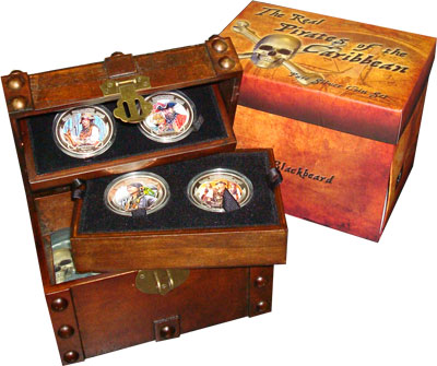 Изображение Подарочные монеты Ниуэ Пираты Карибского моря 2011 Серебро Proof Подарочный набор Пир