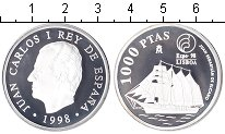 Изображение Мелочь Испания 1.000 песет 1998 Серебро Proof Экспо-98 в Лиссабоне
