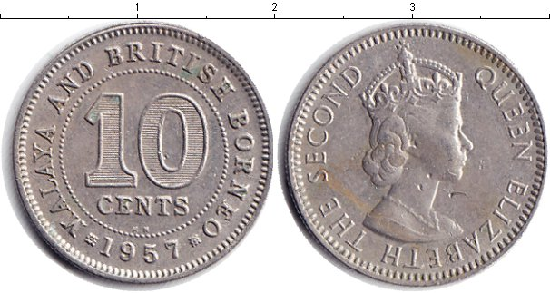 Картинка Монеты Малайя 10 центов Медно-никель 1957
