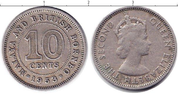 Картинка Монеты Малайя 10 центов Медно-никель 1953