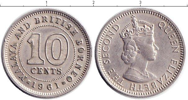 Картинка Монеты Малайя 10 центов Медно-никель 1961