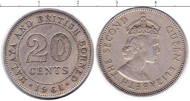 Картинка Монеты Малайя 20 центов Медно-никель 1961