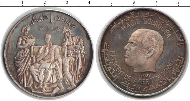 Картинка Монеты Тунис 1 динар Серебро 1969