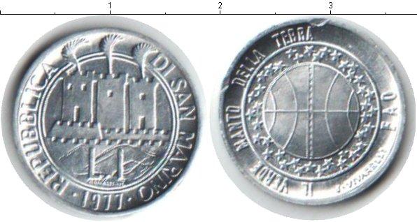 Картинка Монеты Сан-Марино 1 лира Алюминий 1977