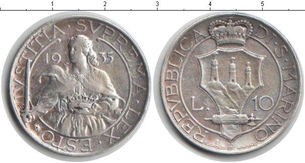 Картинка Монеты Сан-Марино 10 лир Серебро 1935