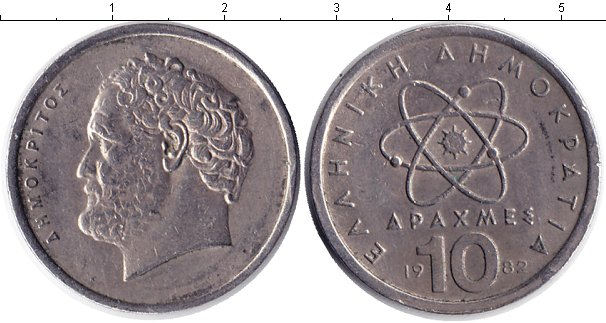 Картинка Дешевые монеты Греция 10 драхм  1982