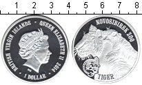 Изображение Мелочь Виргинские острова 1 доллар 2014 Посеребрение Proof Новосибирский зоопар