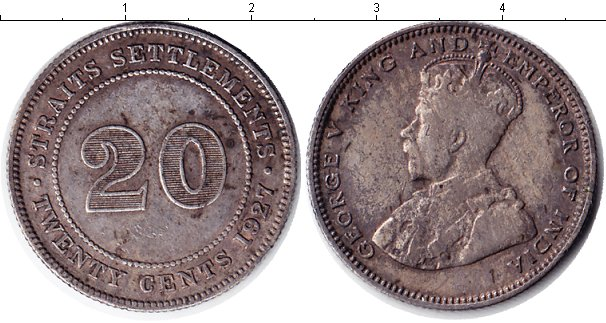 Картинка Монеты Стрейтс-Сеттльмент 20 центов Серебро 1927