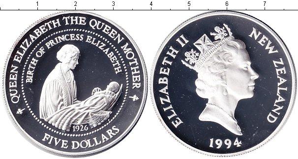 Картинка Монеты Новая Зеландия 5 долларов Серебро 1994