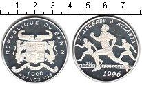 Изображение Монеты Бенин 1000 франков 1995 Серебро Proof- От Афин к Атланте.