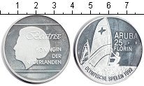 Изображение Монеты Аруба 25 флоринов 1992 Серебро UNC- Беатрикс.