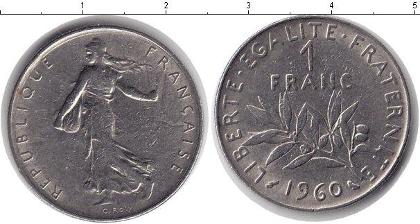 Картинка Дешевые монеты Франция 1 франк  1960