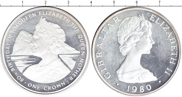 Картинка Монеты Гибралтар 1 крона Серебро 1980