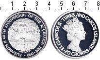Изображение Монеты Теркc и Кайкос 20 крон 1992 Серебро Proof 40-летие вступления