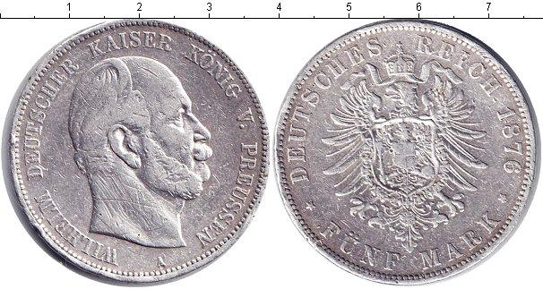 Картинка Монеты Пруссия 5 марок Серебро 1876