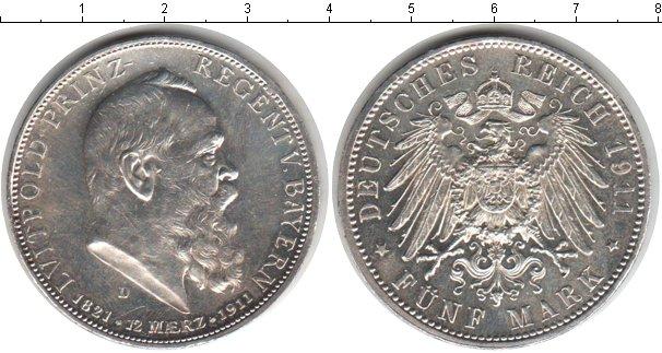 Картинка Монеты Бавария 5 марок Серебро 1911