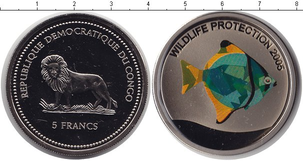 Картинка Монеты Конго 5 франков Медно-никель 2005