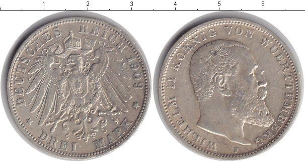 Картинка Монеты Вюртемберг 3 марки Серебро 1909