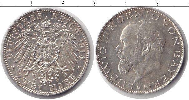 Картинка Монеты Бавария 2 марки Серебро 1914