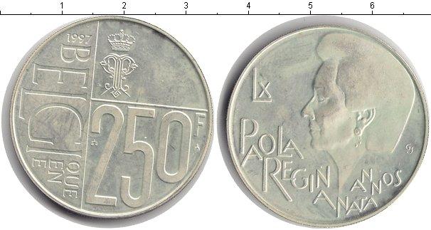 Картинка Монеты Бельгия 250 франков Серебро 1997