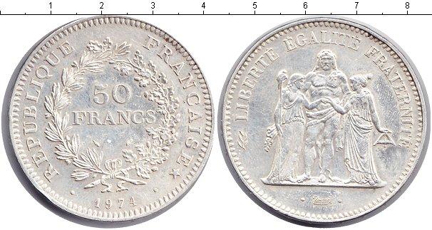Картинка Монеты Франция 50 франков Серебро 1974