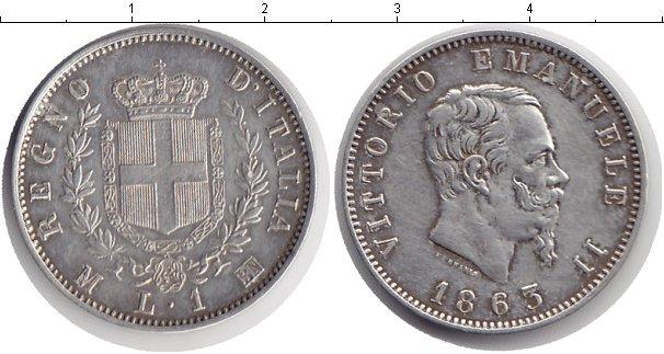 Картинка Монеты Италия 1 лира Серебро 1863