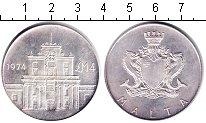 Изображение Монеты Мальта 4 фунта 1974 Серебро UNC- Ворота Коттонеры