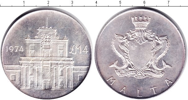 Картинка Монеты Мальта 4 фунта Серебро 1974