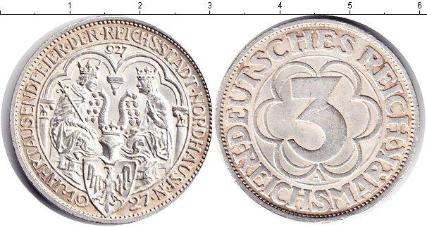 Картинка Монеты Веймарская республика 3 марки Серебро 1927