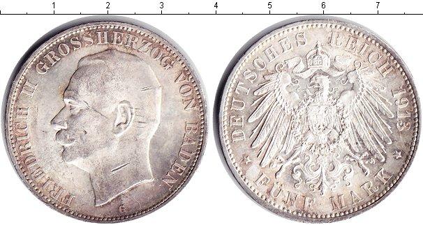 Картинка Монеты Баден 5 марок Серебро 1913