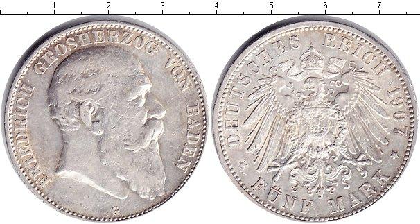 Картинка Монеты Баден 5 марок Серебро 1907