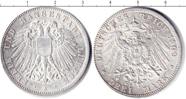 Картинка Монеты Любек 3 марки Серебро 1909
