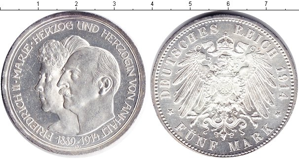 Картинка Монеты Анхальт 5 марок Серебро 1914