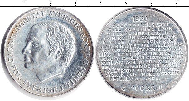 Картинка Монеты Швеция 200 крон Серебро 1980
