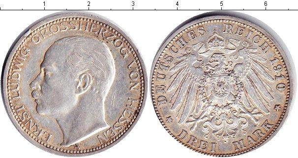 Картинка Монеты Гессен-Дармштадт 3 марки Серебро 1910