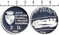Изображение Монеты Андорра 2 динера 1998 Серебро Proof-