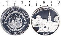Изображение Монеты Либерия 20 долларов 2000 Серебро Proof Стокгольм
