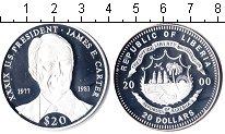 Изображение Монеты Либерия 20 долларов 2000 Серебро Proof Джеймс Картер – 39-й