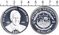 Изображение Монеты Либерия 20 долларов 2000 Серебро Proof Джордж Буш – 41-й пр