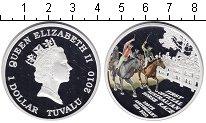 Изображение Монеты Тувалу 1 доллар 2010 Серебро Proof Скачки.
