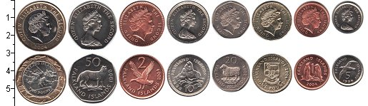 Изображение Наборы монет Фолклендские острова Фолклендские острова 1998-2004 0  UNC- В наборе 8 монет