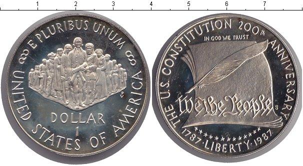 Картинка Монеты США 1 доллар Серебро 1987